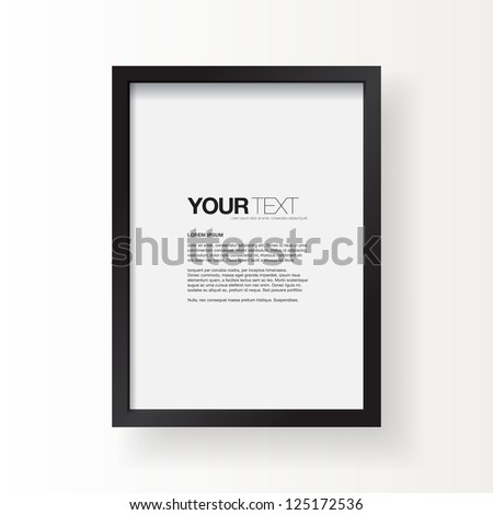 black frame on a wall vector