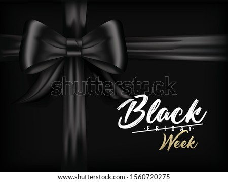 Black Friday banner in black, gold and white with black ribbon bow and with the text the best Black Friday Sale ever.