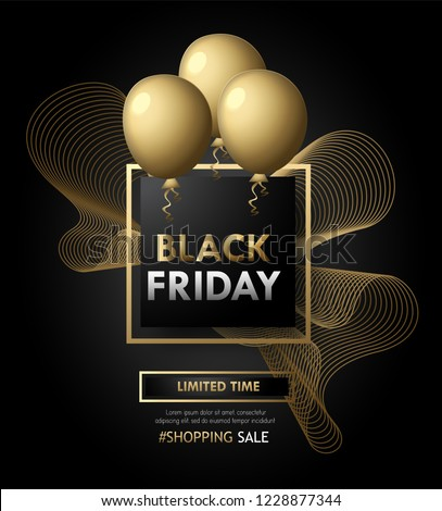 Black Friday Banner poster with grunge,balloon and beautiful calligraphy in golden box on black background.