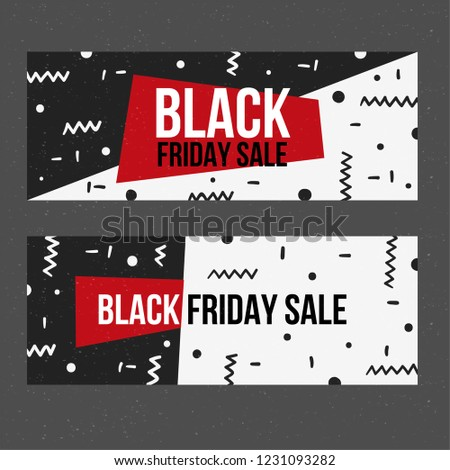 Black friday banners in memphis style