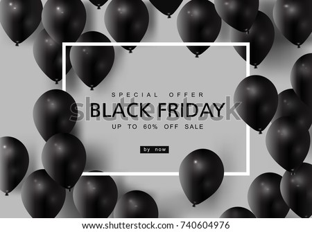 Black Friday, Big Sale, black air balloon, creative template on flat design
