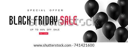 Black Friday, Big Sale, black balloons, creative template on flat design