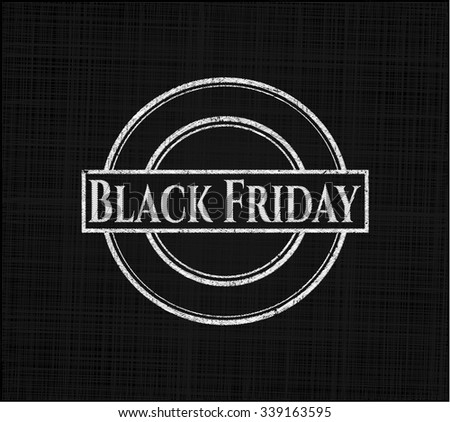 Black Friday chalkboard emblem on black board