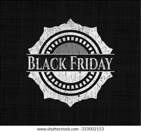Black Friday chalkboard emblem written on a blackboard