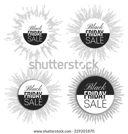 Black friday elements, noir design sale banners set, vector illustration.