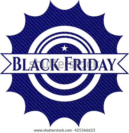 Black Friday emblem with denim high quality background