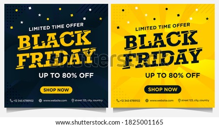 Black Friday event banners, social media post and background template in yellow and black color with dot and star ornament