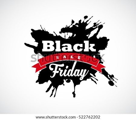 Black Friday hand made splash label with red ribbon.