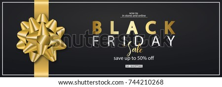 Black Friday Horizontal Banner with gold bow. Vector Illustration. Modern design.Universal vector background for poster, banners, flyers, card