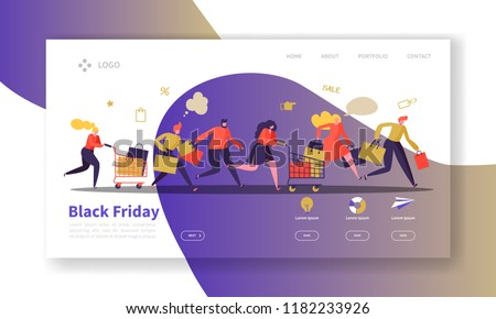 Black Friday Landing Page Template. Seasonal Discount Website Layout with Flat People Characters with Shopping Bags. Easy to Edit and Customize Mobile Web Site. Vector illustration
