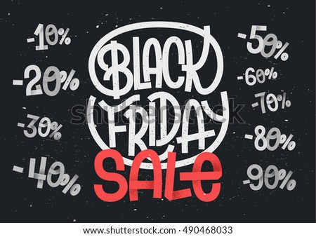 Black Friday lettering with percentage numbers for sales and discount designs