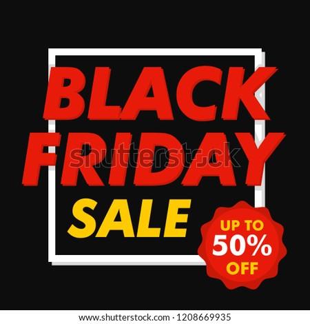 Black friday mega sale concept background. Flat illustration of black friday mega sale vector concept background for web design