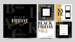 Black Friday modern promotion web banner for social media mobile apps. Elegant sale and discount promo backgrounds with abstract pattern.