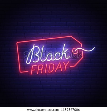 Black Friday neon sign, bright signboard, light banner. Big sale logo, emblem. Vector illustration