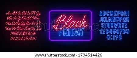Black Friday neon sign on dark background. Neon duo red and blue font. Bold and script alphabet.