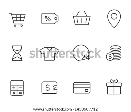 black friday outline vector icons set isolated on white background. promo advertising black friday icons for web and ui design.