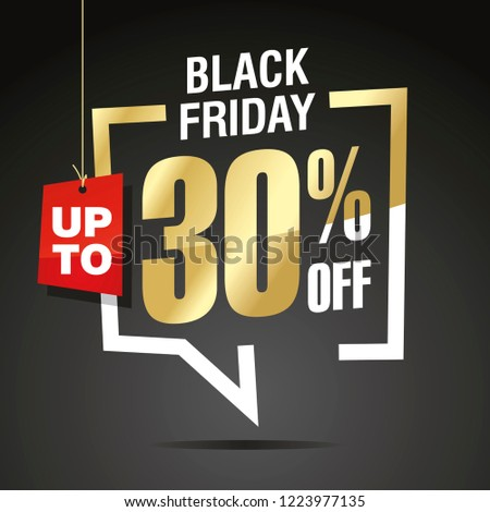 Black Friday 30 percent off sale isolated gold white red black sticker icon