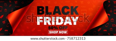 Black Friday Poster or banner with open gift wrap paper and shopping icons concept.Vector illustration EPS10