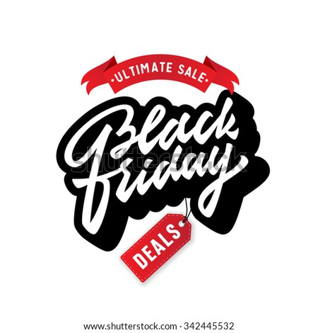 Black Friday. Promotional badge sign label symbol. Vintage Brush Script Lettering.Great way to spread the word about your business,special offers,discounts,deals,bargain etc. Vector Illustration.