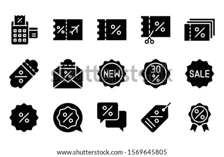black friday related to airport ticket, badge, ribbon badge, tickets, message popup, and bill machine vector in solid design
