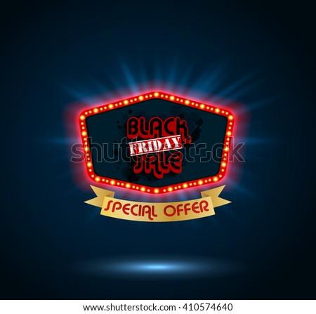 Black Friday retro light frame.vector