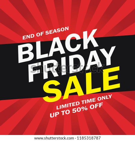 Black Friday Sale Advertising Banner Red And Black. Vector.