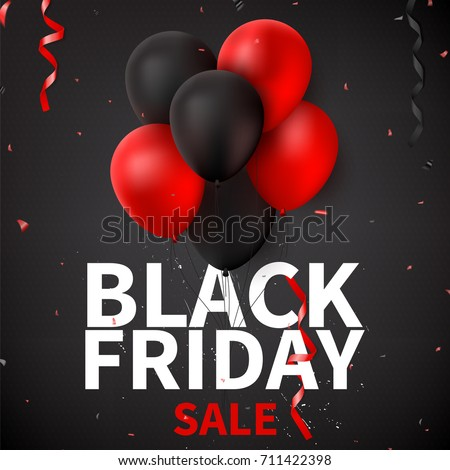 Black Friday sale background template. Dark background with red and black balloons for seasonal discount offer. Vector illustration with confetti and serpentine.