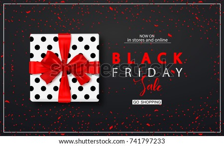 Black friday sale background with gift box and confetti. Modern design.Universal vector background for poster, banners, flyers, card