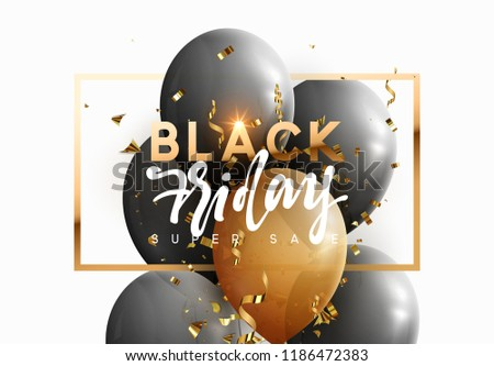 Black friday, sale banner background with balloons.