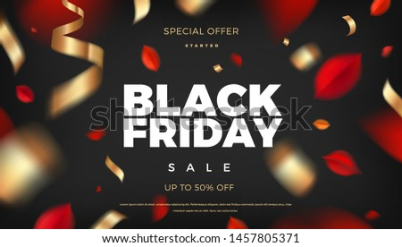 Black Friday sale banner background with red leaves and golden confetti decoration, vector promo design elements. Web layout template