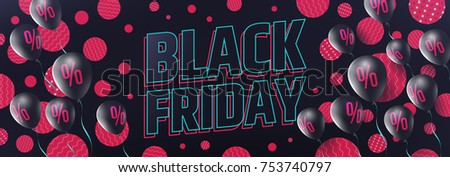 Black Friday Sale banner by balloons with Percent Sign,Discount Sign in pink and black color style for Retail,Shopping,Sale or Black Friday Promotion.