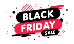 Black friday sale banner. Gift Coupon element template, graphics design. Voucher promo code. Shopping, marketing, food and drink, business. Vector illustration.