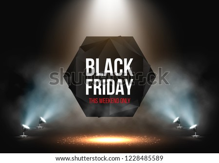 Black Friday Sale banner illuminated by spotlights. Vector illustration.