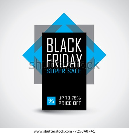 Black Friday sale banner in black and blue colors and super sale text
