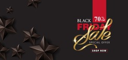 Black friday sale banner layout design template with black stars. Vector illustration