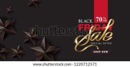Black friday sale banner layout design template with black stars. Vector illustration