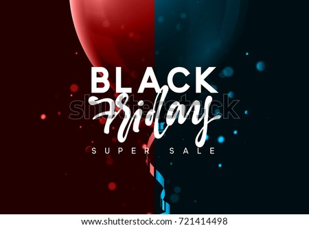 Black Friday sale, banner, poster advert. Card offert promotion design. Background lights bokeh, red and blue air balloon