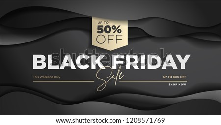 Black Friday sale banner. Social media vector illustration template for website and mobile website development, email and newsletter design, marketing material. - Shutterstock ID 1208571769