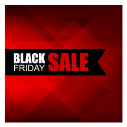 Black Friday Sale banner. Stylish Red-black polygonal background. with a black ribbon and the text Black Friday Discounts . Vector ready template