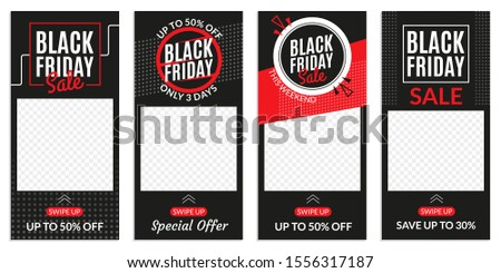 Black Friday sale banner template for Social media stories. Price off discount background for web ads. Vector illustration.