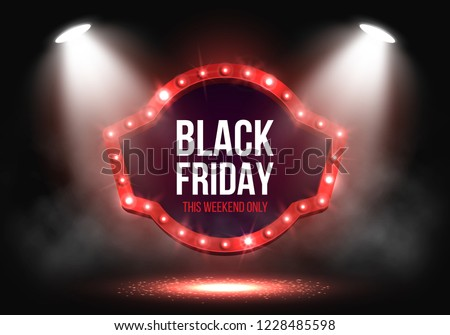 Black Friday Sale banner with retro billboard illuminated by spotlights. Vector illustration.