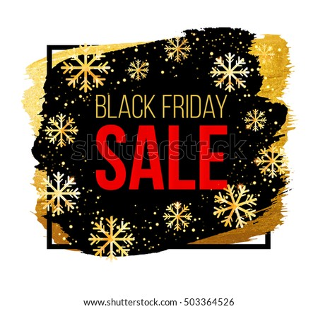 black friday sale banner with snowflakes design template for christmas sale winter sale or happy new year