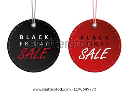 black friday sale black and red hanging label tags for promotion vector illustration EPS10 #1198649773