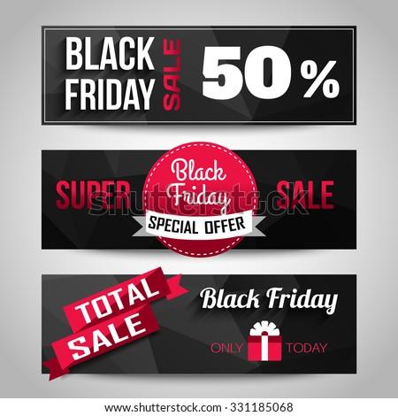 Black Friday Sale black background. Super Sale, Special offer, 50% discount horizontal banners. Geometric design. Vector illustration.