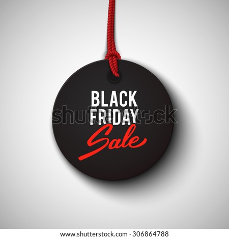 Black Friday sale black tag, round banner, advertising, vector illustration