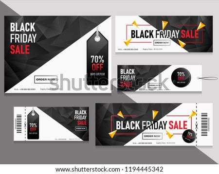 Black Friday sale coupons and vouchers set with 70% discount offer. #1194445342