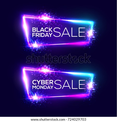 331cfa1f1e Black friday sale. Cyber monday sale. Neon background. Holiday shopping sign  with flares
