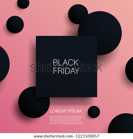 Black friday sale 3d vector illustration banner template with black objects on pink background. Sales promotion, special offers and deals advertising. Eps10 vector illustration.