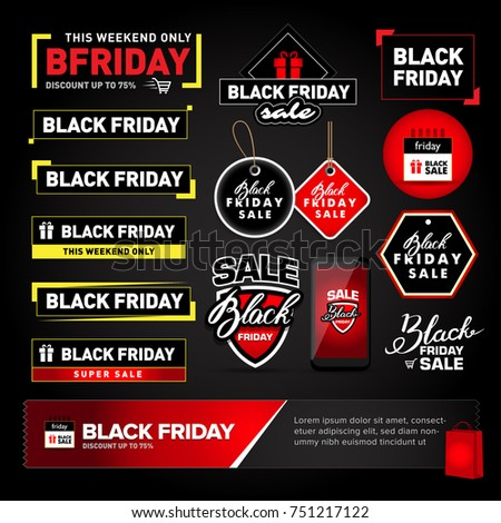 Black Friday sale design elements set. Black Friday sale inscription labels, stickers. Isolated Vector illustrations. #751217122