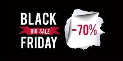 Black Friday sale design template. Black Friday 70 percent discount banner with black background. Vector illustration.